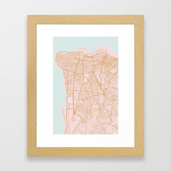Beirut map Framed Art Print