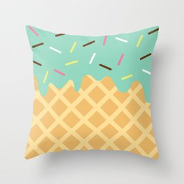 Mint Ice Cream with Sprinkles Throw Pillow