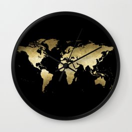 gold foil world map on black background Wall Clock