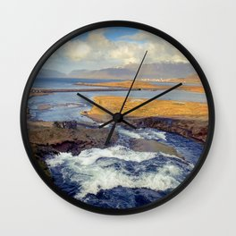 River in Western Iceland Wall Clock