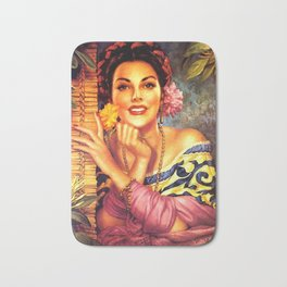 Jesus Helguera Painting of a Mexican Girl Beside Rattan Curtain Bath Mat