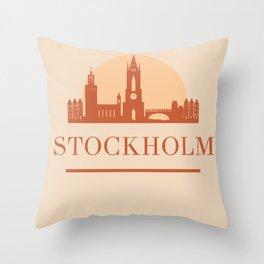 STOCKHOLM SWEDEN CITY SKYLINE EARTH TONES Throw Pillow