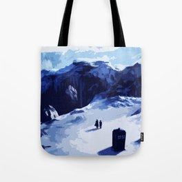 Tardis Art At The Snow Mountain Tote Bag