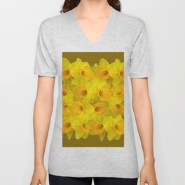 Olive Colored Golden Daffodile Floral Abundance Unisex V-Neck