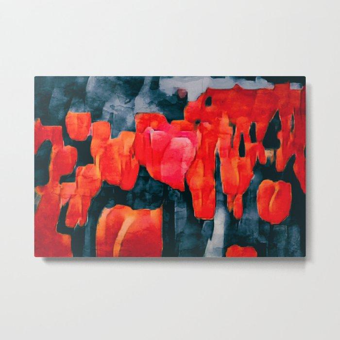 Tulip Field at Night Metal Print