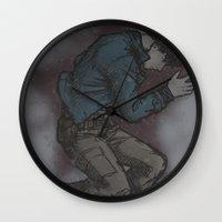 bucky barnes Wall Clocks featuring Bucky in the snow by DeanDraws