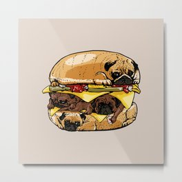 Pugs Burger Metal Print