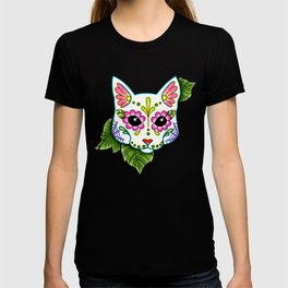 White Cat - Day of the Dead Sugar Skull Kitty T-shirt