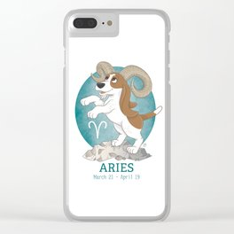 Aries Zodiac Basset Hound Clear iPhone Case