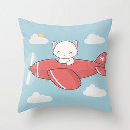 Kawaii Cute Flying Cat Throw Pillow