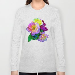 Rosa Yellow Roses on Black Long Sleeve T-shirt