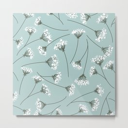 Queen Anne's Lace Floral Pattern Metal Print