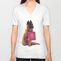 birthday V-neck T-shirts featuring Birthday dog by AvHeertum