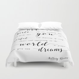 hillary clinton quote Duvet Cover