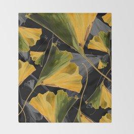 Yellow Ginkgo Leaves on Black Throw Blanket
