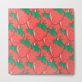 BRIGHT AND COLORFUL STRAWBERRY POP ART PATTERN Metal Print