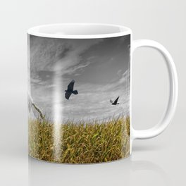 Scarecrow with Black Crows over a Cornfield Coffee Mug