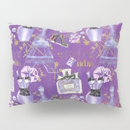 Fashion Victim - Paris France Elegance Shopping Girly in pink and purple Pillow Sham