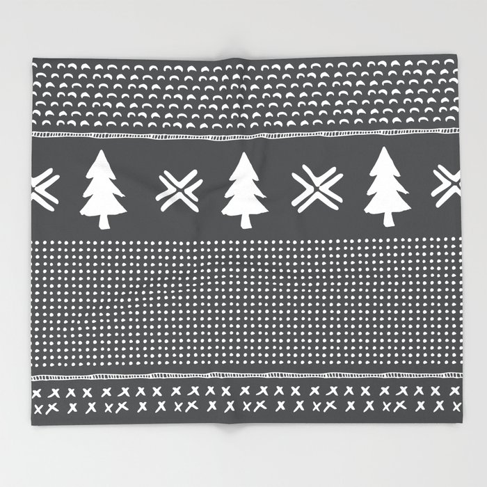 Evergreen in Gray Throw Blanket