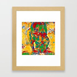 3334s-SRC Abstract Woman with Blue Eyes Rendered in Color and Style Framed Art Print