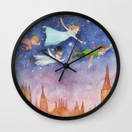 Peter Pan Sunset Nursery Decor Wall Clock