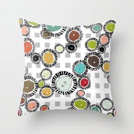 Wedge Circle on Gray Check Throw Pillow