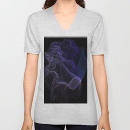 Purple-Blue Ombré Aurora String Theory # 1 (blue on black) Unisex V-Neck