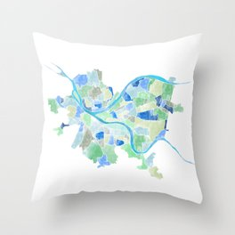 Pittsburgh Neighborhood Map Throw Pillow