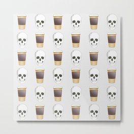 Coffee Skull Pattern Metal Print