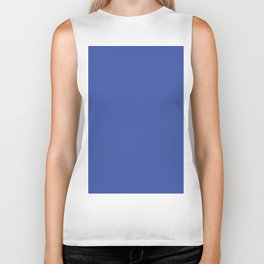 Blue Solid Color Biker Tank