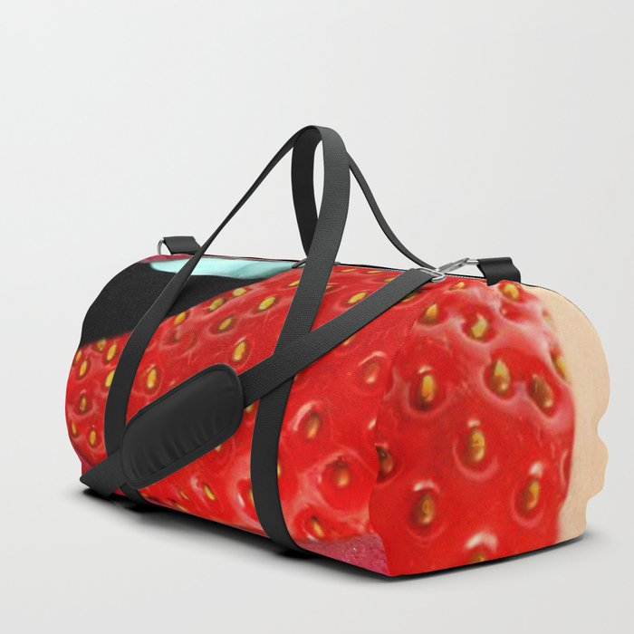 tongue mouth lips strawberry Duffle Bag