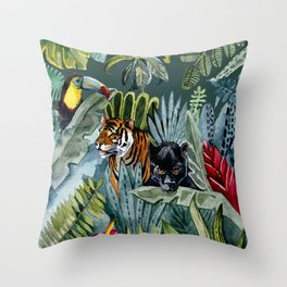 Jungle with tiger and tucan Throw Pillow