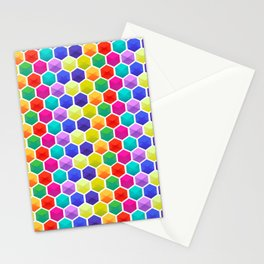 Colorful 3D octagons geometric pattern Stationery Cards