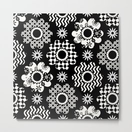 Black and White Blooms Metal Print