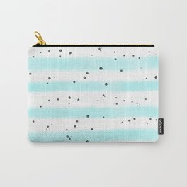 Modern pastel teal black watercolor splatters stripes Carry-All Pouch