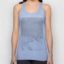 Modern faux grey silver glitter ombre white marble Unisex Tank Top