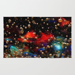 Cosmic Abstract with Golden Rain Rug