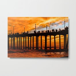 HB Silhouette's, and a fiery sunset at the Huntington Beach Pier. Metal Print