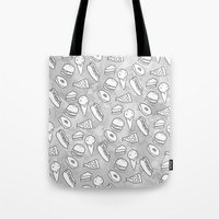 junk food Tote Bags featuring Junk Food Print by Naomi Bell