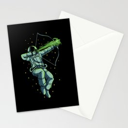 Retro Archery Astronaut With Arrow And Bow Stationery Cards