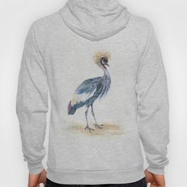 Grey Crowned Crane Bird Hoody