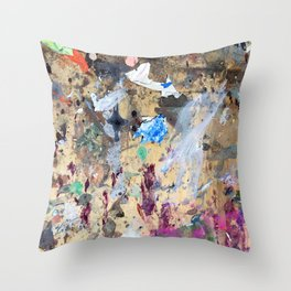 Saturday Morning Street Markets In Paris Abstract Painting Throw Pillow