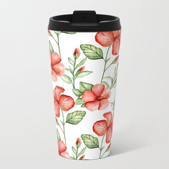 Red hibiscus Metal Travel Mug