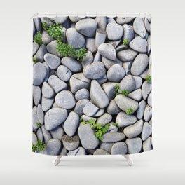 Sea Stones - Gray Rocks, Texture, Pattern Shower Curtain