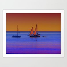 Boats at sunrise Art Print