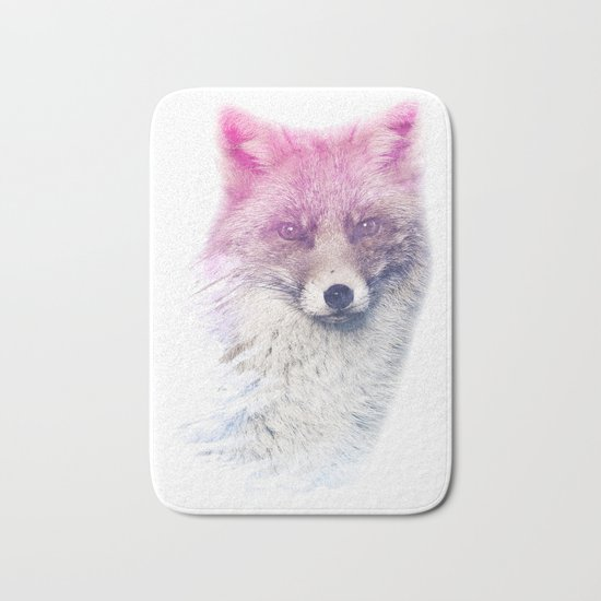 FOX SUPERIMPOSED WATERCOLOR Bath Mat