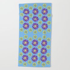 A Purple and Yellow Flower Pattern Beach Towel