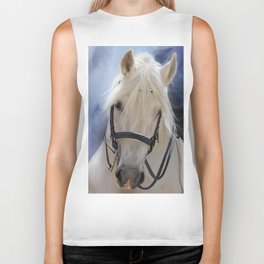 Painted White Horse head Biker Tank