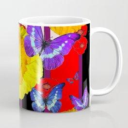 GOLDEN-YELLOW POPPIES  FLOWER BUTTERFLIES RED FLORAL Coffee Mug