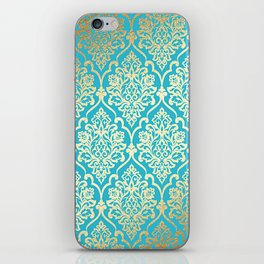 Teal Gold Mermaid Damask Pattern iPhone Skin